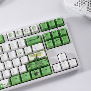 LavaCaps PBT 108 Keycaps Set, Thick PBT Keycaps for Mechanical Keyboard (Chinese Style Green Reindeer)