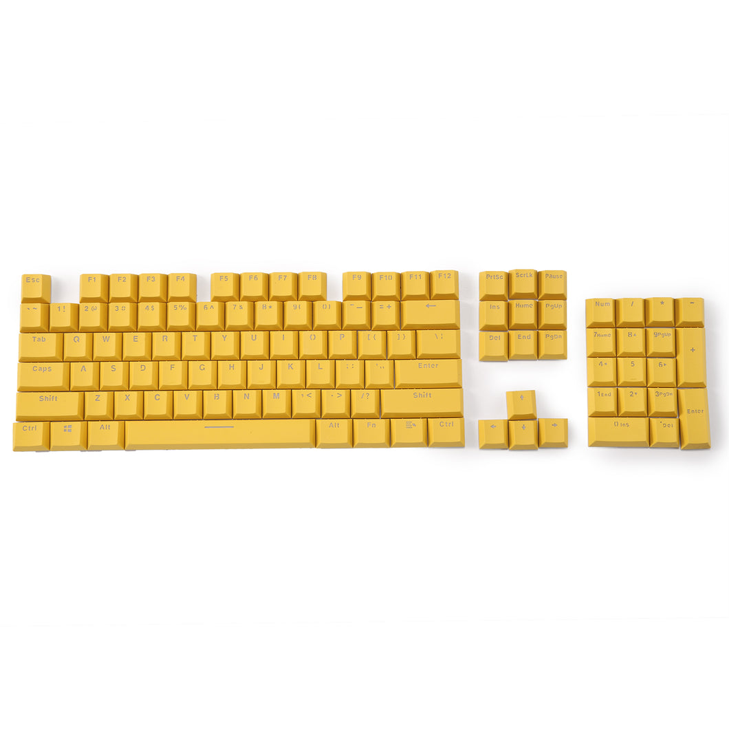 LavaCaps Double Shot PBT 104 Keycaps Set with Translucent Layer, Double Shot Keycaps for Mechanical Keyboard - Macaron Yellow