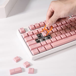 LavaCaps Double Shot PBT 104 Keycaps Set with Translucent Layer, Double Shot Keycaps for Mechanical Keyboard - Macaron Pink