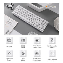 Load image into Gallery viewer, LTC NB681 Nimbleback Wired 65% Layout Mechanical Keyboard, RGB Backlit Ultra-Compact 68 Keys Gaming Keyboard with Hot-Swappable Tactile Blue/Red/Brown Switch and Stand-Alone Arrow/Control Keys,White