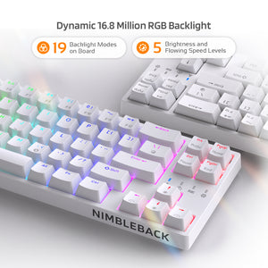 LTC NB681 Nimbleback Wired 65% Layout Mechanical Keyboard, RGB Backlit Ultra-Compact 68 Keys Gaming Keyboard with Hot-Swappable Tactile Blue/Red/Brown Switch and Stand-Alone Arrow/Control Keys,White