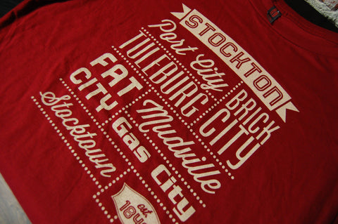 "Stockton, CA - ""Nicknames of the Past""  - Ladies Sangria Tee"