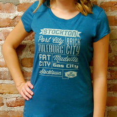 "Stockton, CA - ""Nicknames of the Past""  - Juniors Turquoise Tee"
