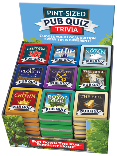 Pint-sized Pub Quiz Tins Display