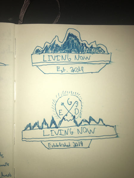 Some of the earliest sketches of logo designs for Living Now.