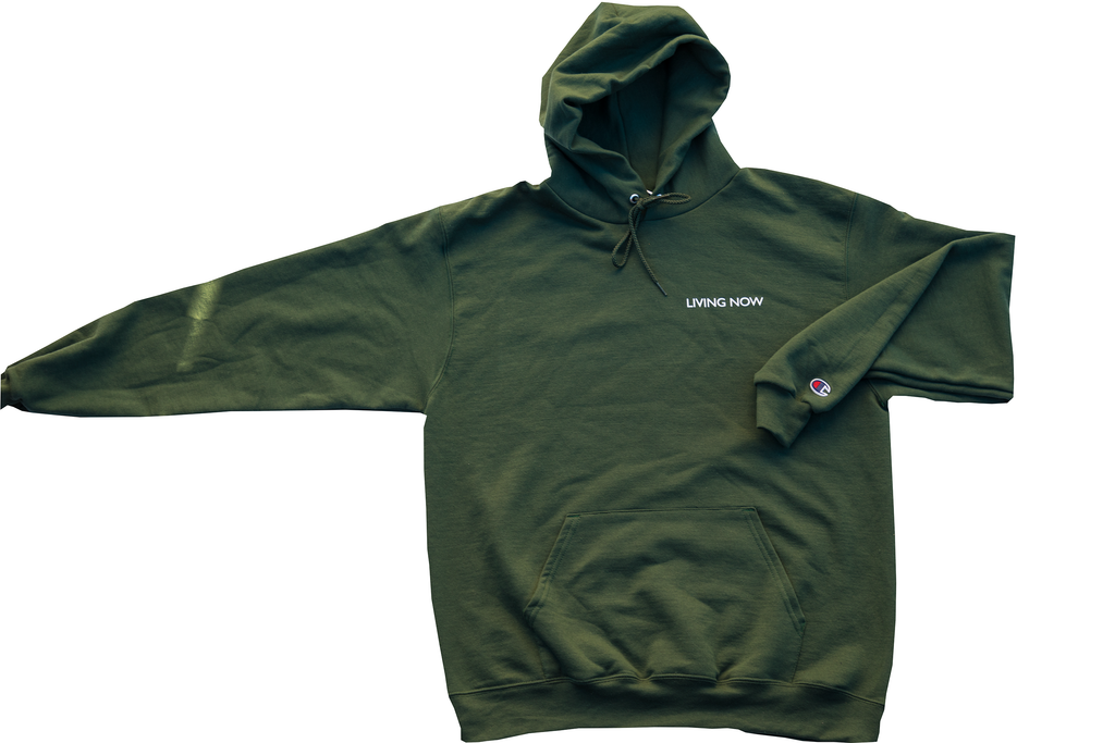 Living Now Forest Green Hoodie Front