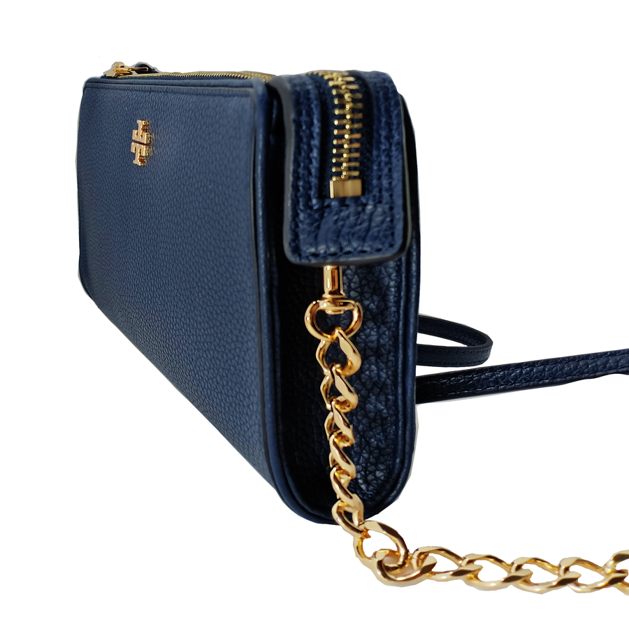 Tory Burch Carter Slim Tory Navy Leather Cross Body Bag