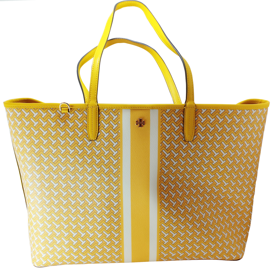 Tory Burch T Tile Link Yellow Tote