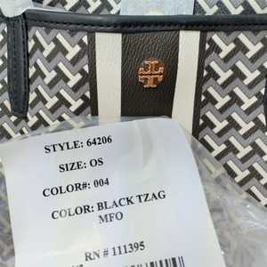 Tory Burch Tile T Link Black Tote