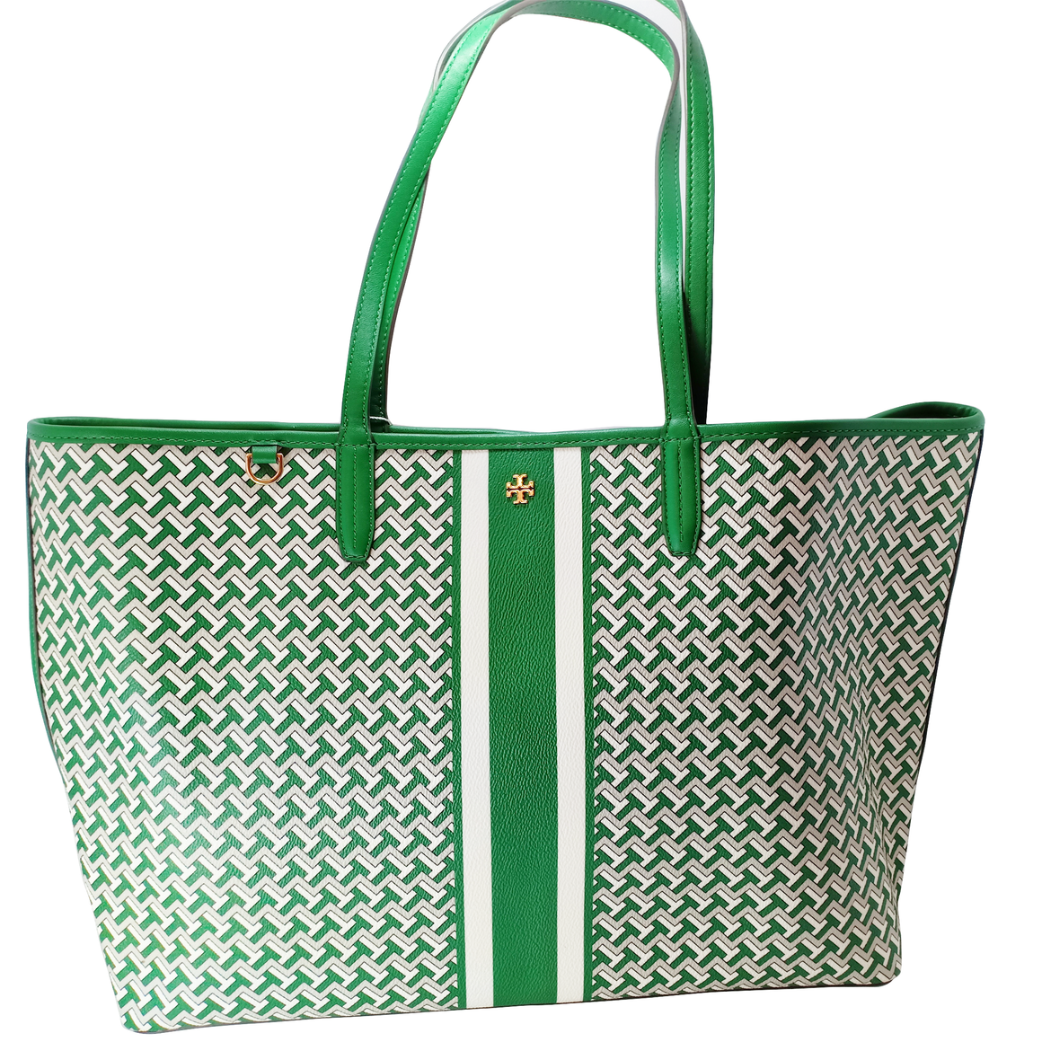 Tory Burch T Tile Link Green Tote