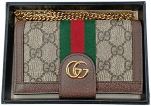 Gucci Brown Ophidia Leather Wallet Chain Iphone 7/8 Case Cover Tech Accessory