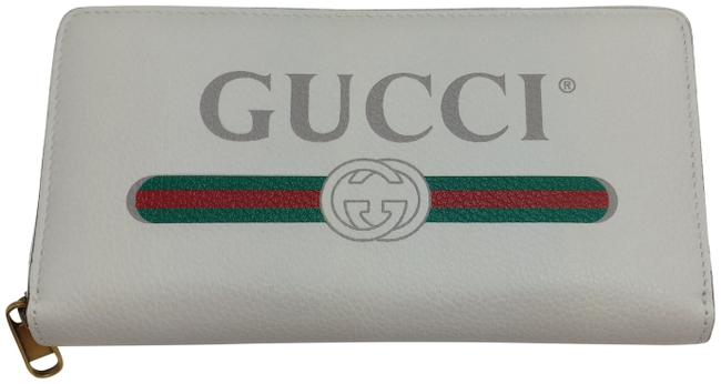 Gucci White Signature Logo Zip-around Clutch Wallet