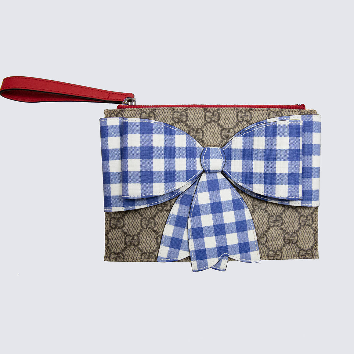 Gucci Monogram Wallet with Blue Ribbon Bow