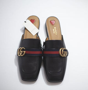 Gucci Black Marmont Betis Glamour Web (Black) Sandals Sz US 9.5