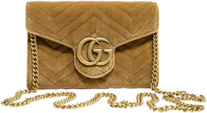 Gucci Chain Wallet Marmont Gg Matelasse Mini Brown Velvet Clutch