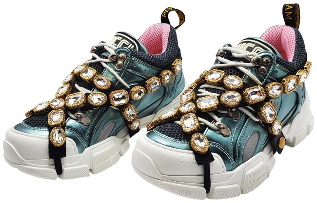 Gucci Blue Pink Flashtrek with Removable Crystals Sneakers SZ US 6