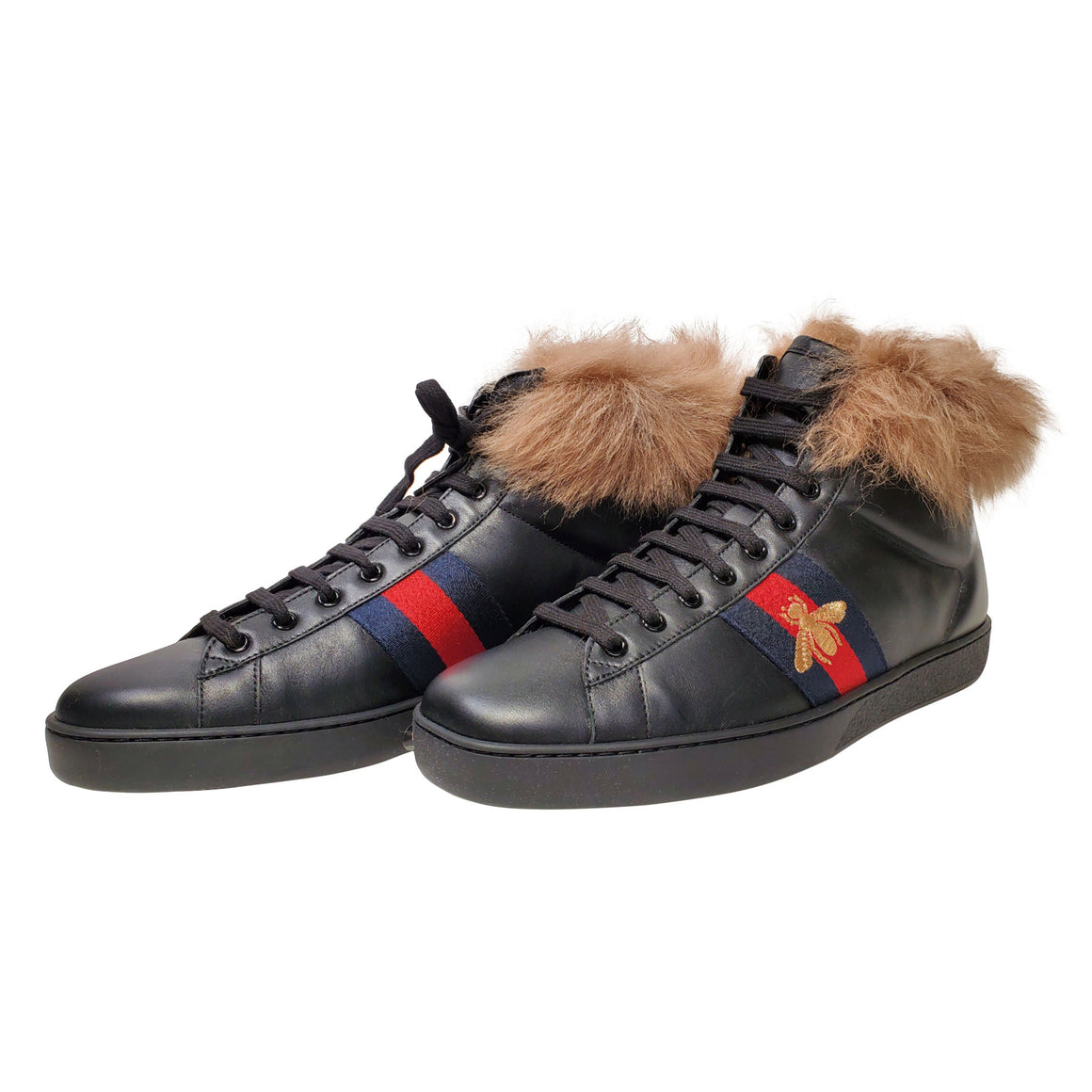 Black Gucci High Top Fur Lined Ace Sneakers