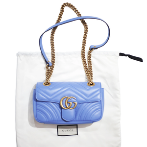 GUCCI GG Marmont Matelassé Shoulder Bag - Blue