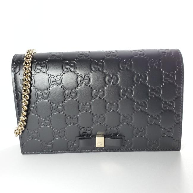 Gucci Chain Wallet Signature Gg Black Cross Body Bag