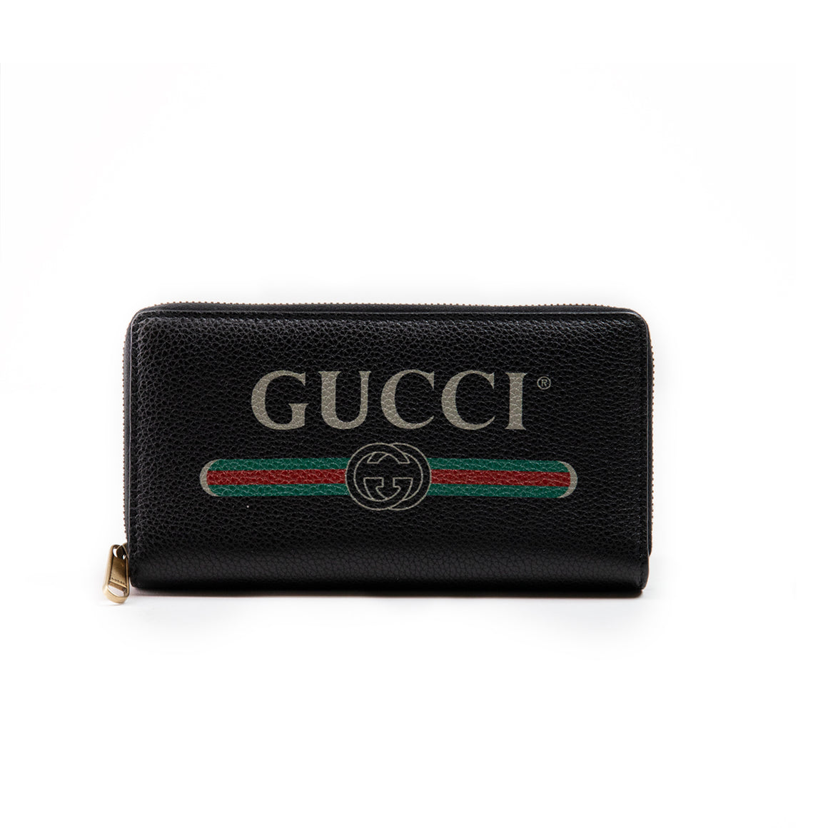 Gucci Black Signature Logo Zip-around Wallet