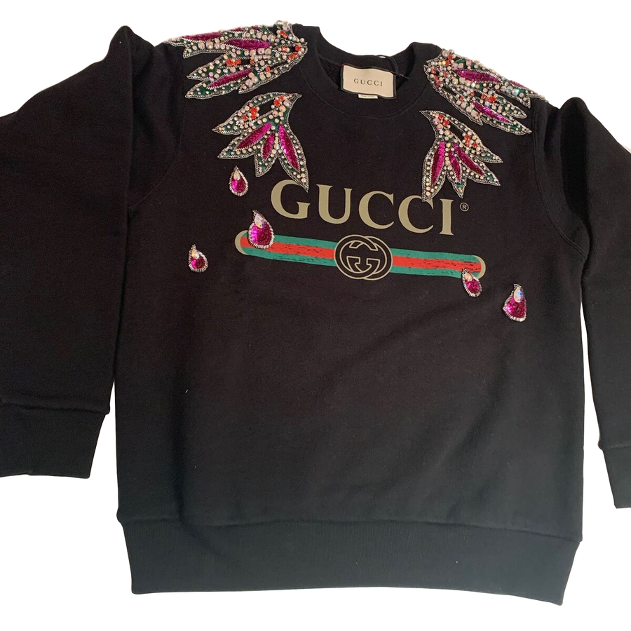 GUCCI Black Gg Embroidered Sweatshirt