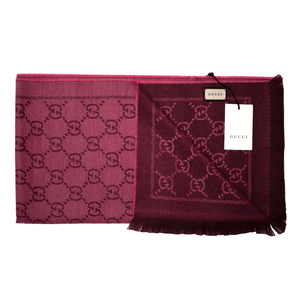 Gucci Pink & Red Wool Jacquard GG Scarf