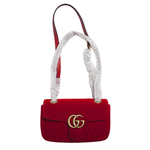 GUCCI Velvet Matelasse GG Marmont Shoulder Bag Hibiscus Red