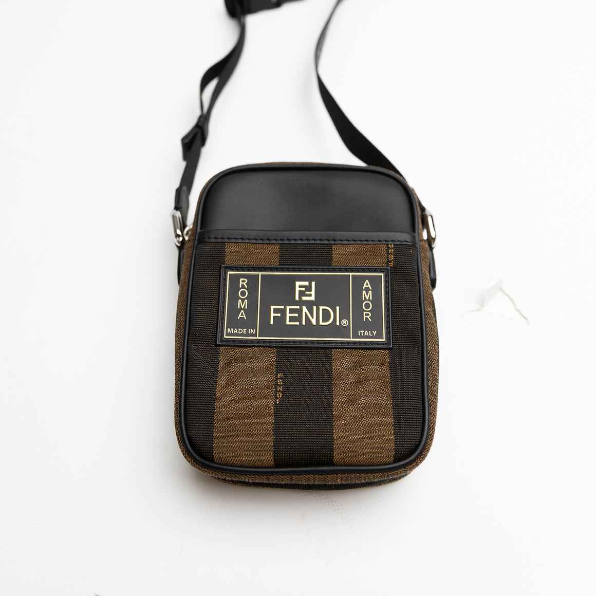 Fendi Pequin Striped Messenger Bag