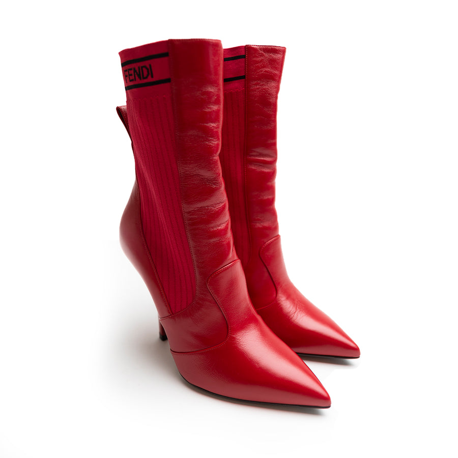 Fendi Red Leather Bootie Ankle Boots