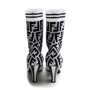 Fendi Jacquard Stretch-Knit and Mesh Sock Boots