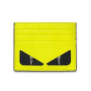 Fendi Neon Yellow Leather Bag Bugs Cardholder