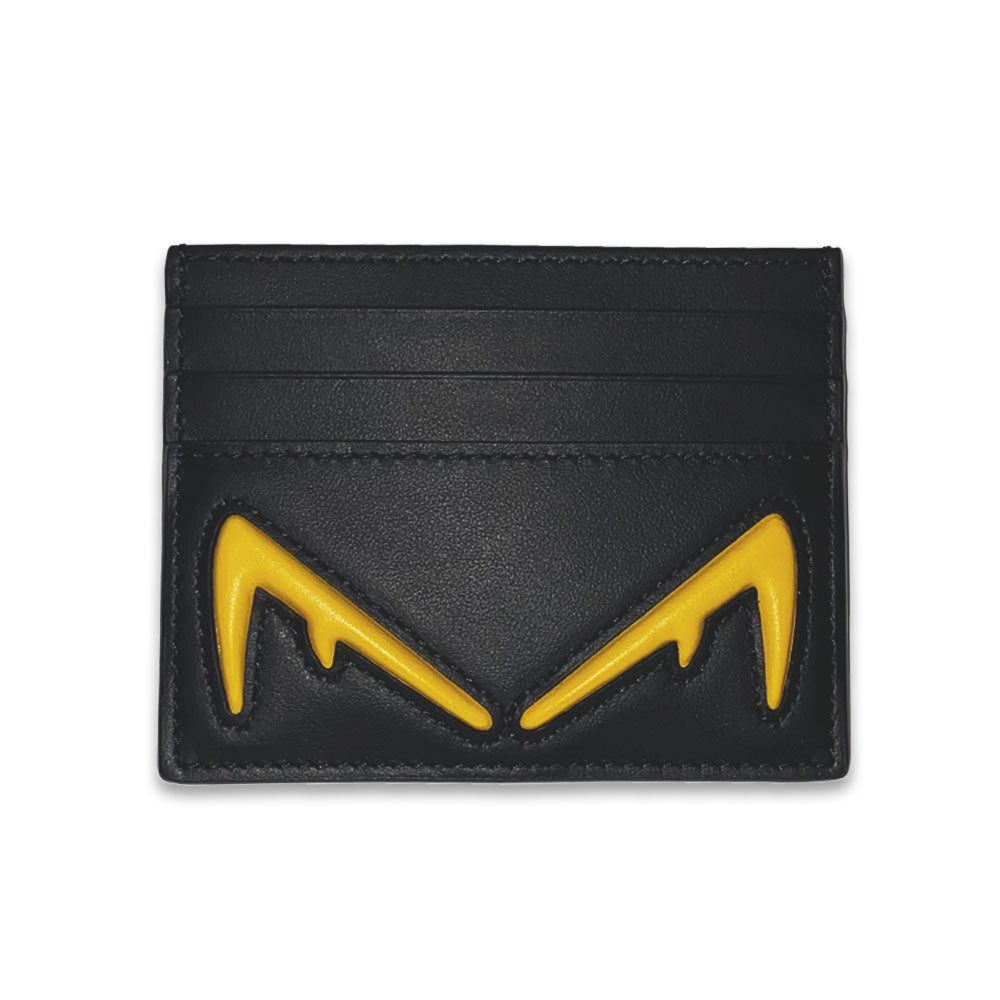 Fendi Black Leather Bag Bugs Cardholder