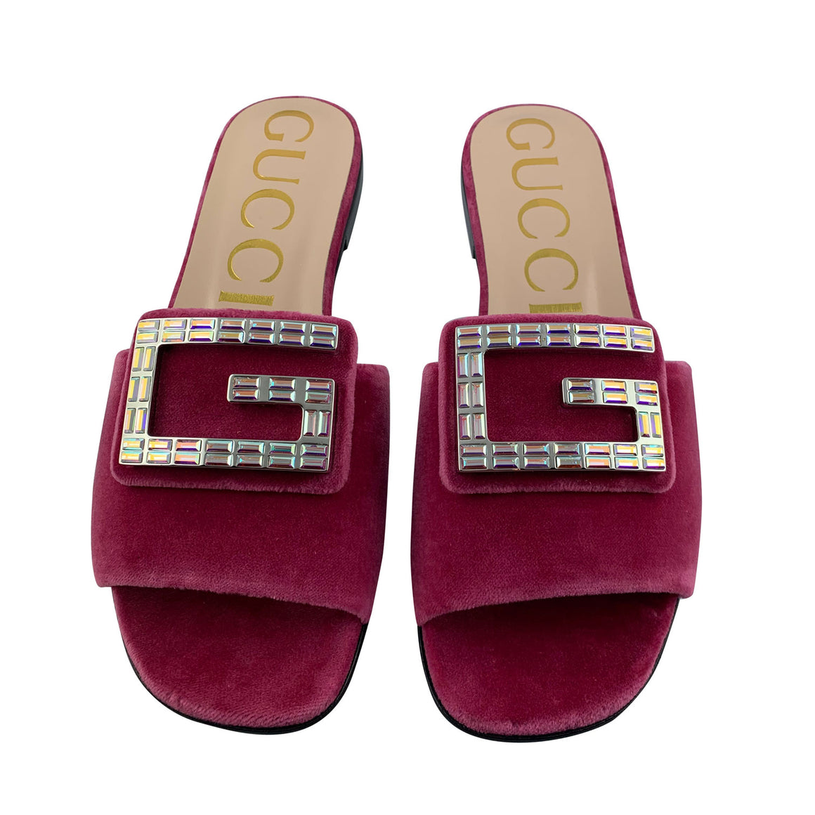 Gucci Raspberry Pink Velvet Sandals with Crystal G