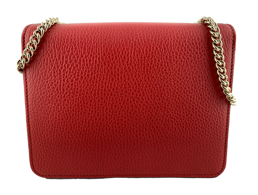 Gucci Interlocking Medium GG Buckle Bag Red