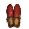 Gucci Red Princetown Fur Laces Mules