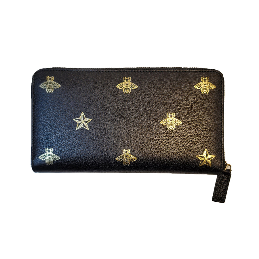 Gucci Bee Long Leather Wallet