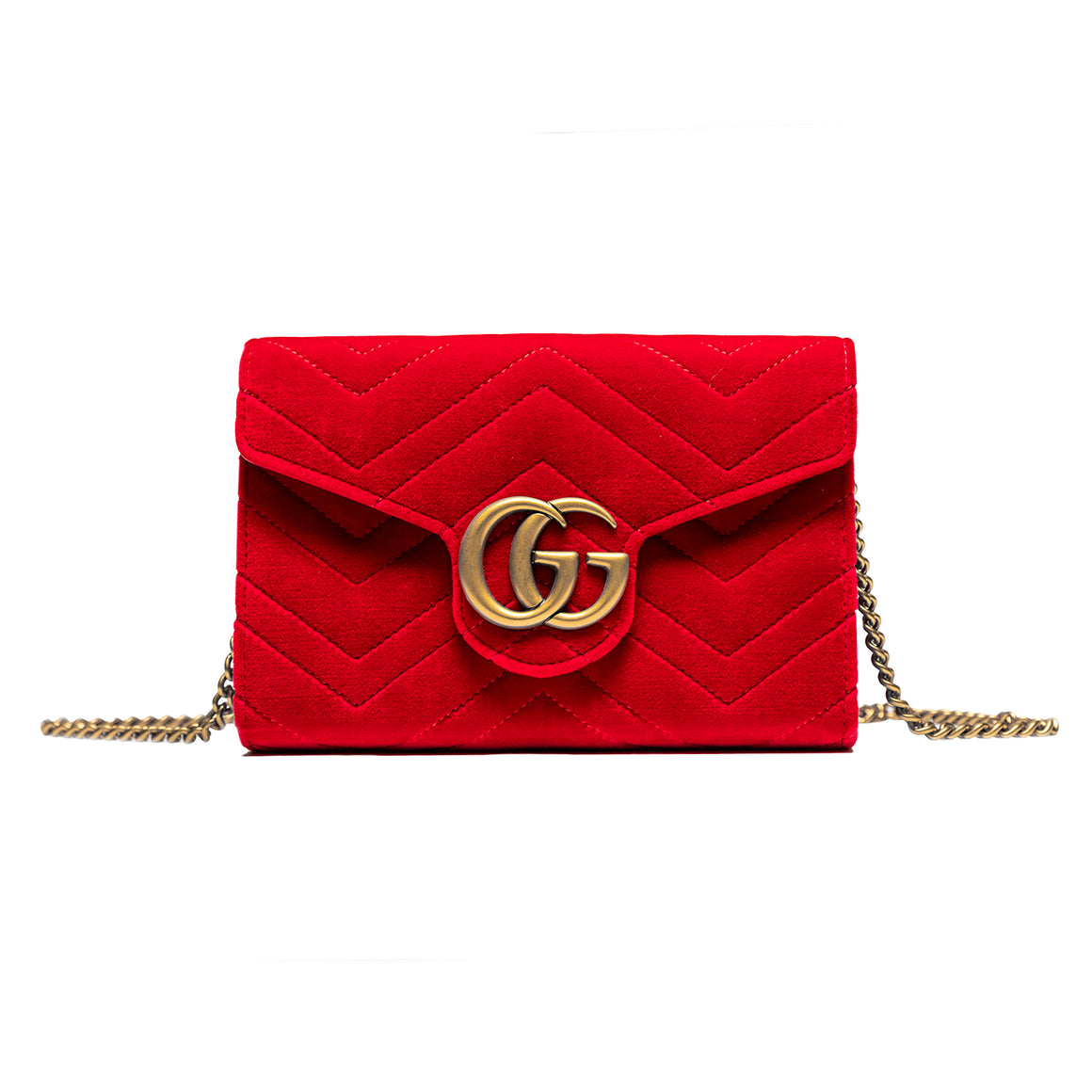 Gucci Marmont Gg Red Velvet Shoulder Bag (Mini)