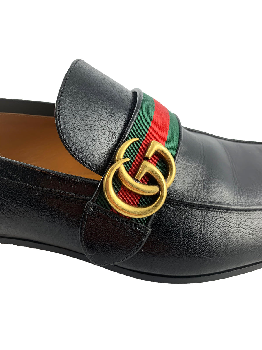 Gucci Black Leather Loafer with GG Web