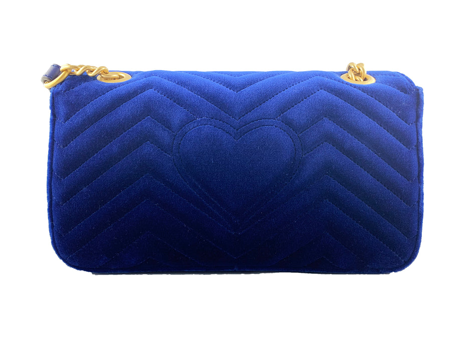 Gucci Blue GG Marmont Velvet Bag
