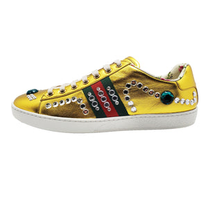 Gucci Gold Ace Metallic Jeweled Sneakers