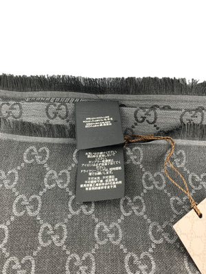 Guccissima Jacquard Wool Silk Scarf Charcoal gray