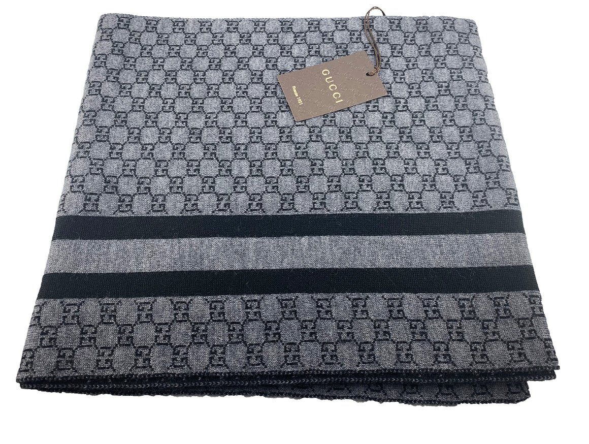 Gucci Guccissima Wool Scarf Black Graphite Web