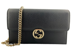 Gucci Interlocking GG Buckle Wallet on Chain Black