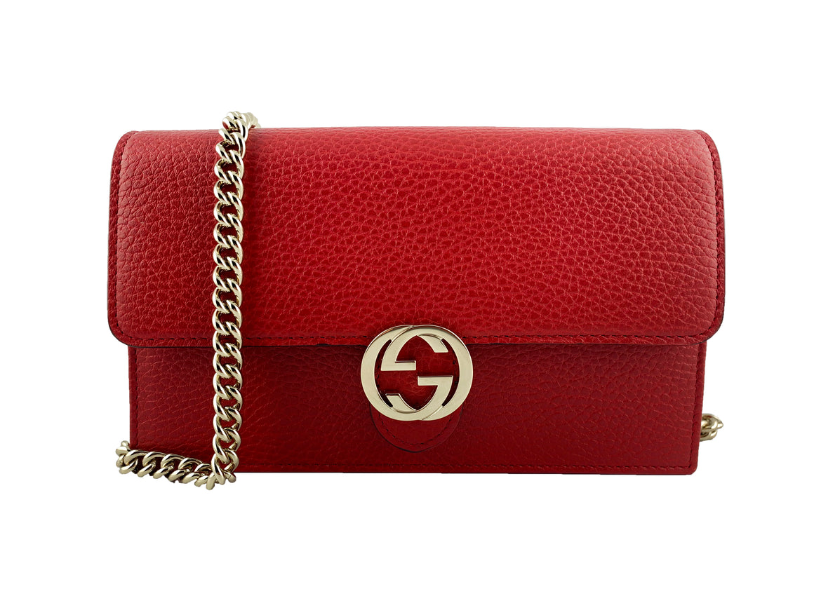 Gucci Interlocking GG Buckle Wallet on Chain Red
