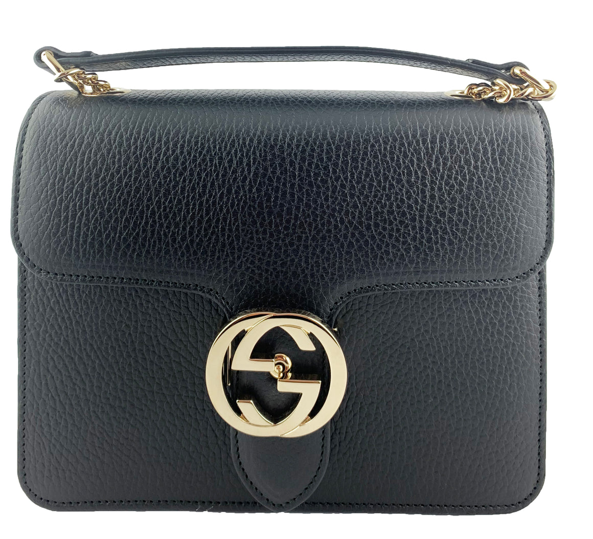 Gucci Interlocking Medium GG Buckle Bag Black