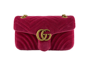 Gucci Red GG Marmont Velvet Bag