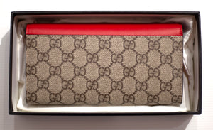 GUCCI Padlock GG Supreme Continental Chain Wallet - Red