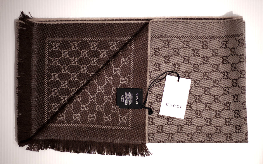 GUCCI Beige/Brown GG Jacquard Knit Scarf