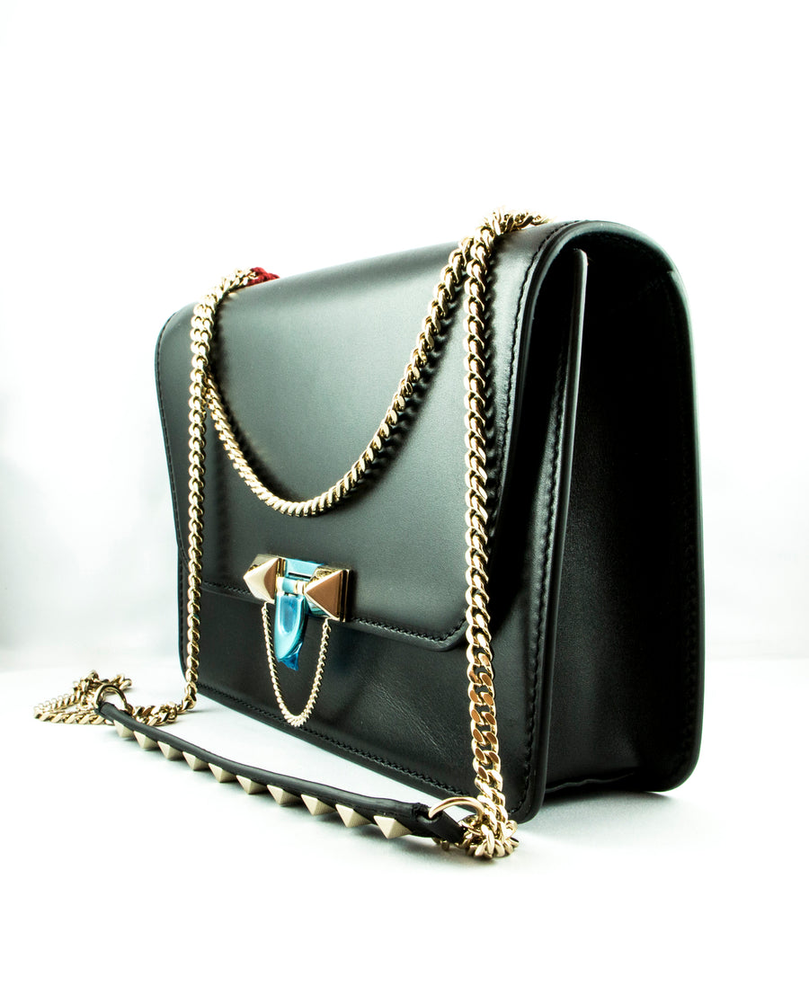 Valentino Demilune Leather Chain Shoulder Bag Black