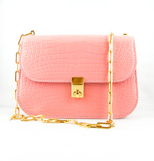 Valentino All Over Chain Crocodile Leather Shoulder Bag - Pink